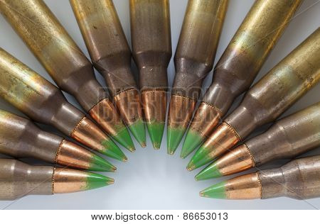 Semi Circle Of Bullets With Green Tips