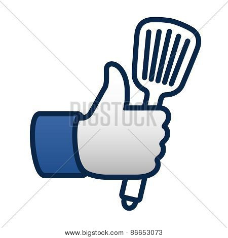 Like cooking, thumbs up symbol icon with spatula