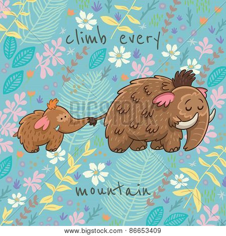 Cartoon vector floral card with mammoth
