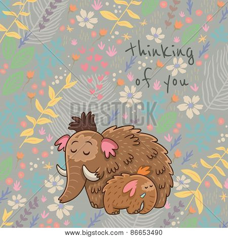 Cartoon vector floral card with mammoth