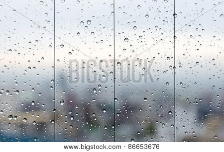 Raindrops On Glass Window