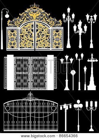 illustration with street lamps and gates collection isolated on black background