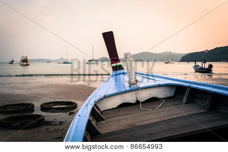 Close Up A Blue Wooden Boat On The Beach