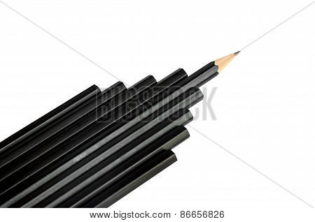 Black Pencil Isolated On White Background.