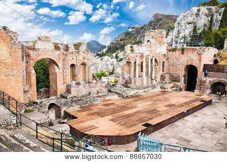 Antique amphitheater Teatro Greco in Taormina, Sicily,Italy.It is one of the most celebrated ruins in Sicily.