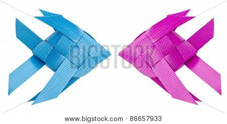 Plastic Recycle To Fish Weave For Kids Toy. Isolated On White Background.