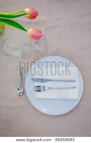 simple meal table lunch setting,