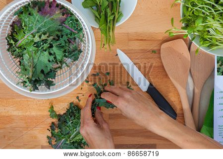 preparing organic ecological veganvegetables kale