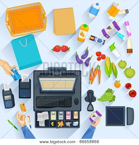 Working table of shopping cash counter