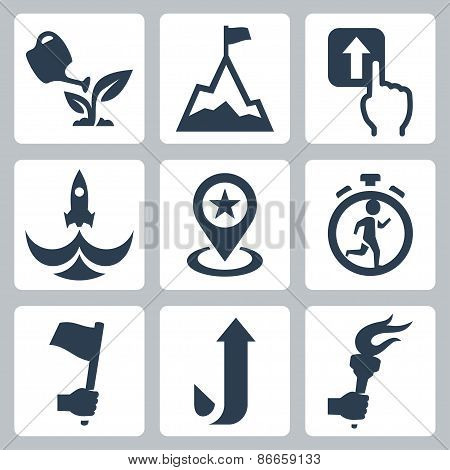 Growth And Development Related Vector Icon Set