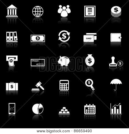 Banking Icons With Reflect On Black Background