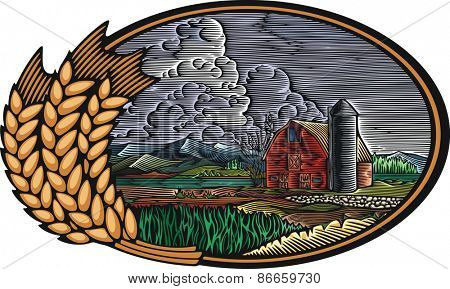 Vector illustration of an organic farm, surrounded by fields and mountains. Sustainable living theme graphic, done in retro woodcut style.