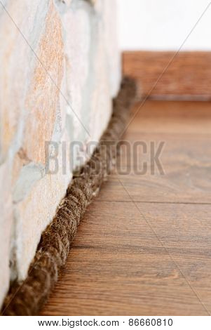Unusual plinth made from rope, interior decoration detail