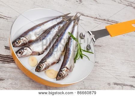 Fresh Sardine Fish On Pan.