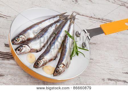 Fresh Sardine Fish On Pan.
