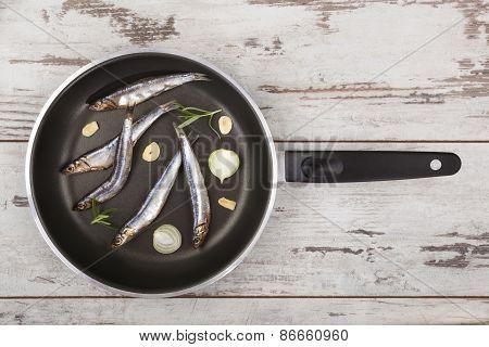 Fresh Fish On Pan.