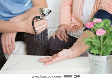 Woman Suffering For Hypertension