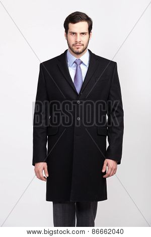 Handsome Office Business Man With Beard Dressed In Elegant Suit, Isolated