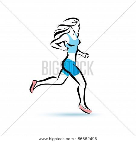 Running Woman Silhouette, Outlined Vector Sketch, Fitness Concept