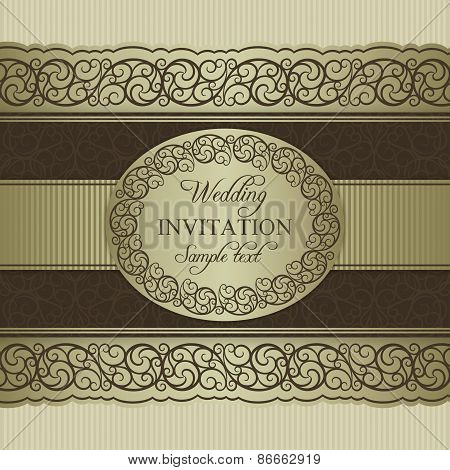 Baroque wedding invitation, beige and brown