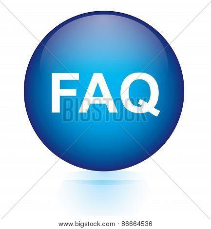 faq blue circular button