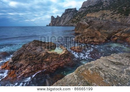 Black sea landscape in Crimea