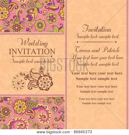 Wedding invitation in east turkish style, pink