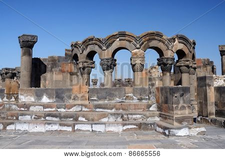 Ruins Of Zvartnots (celestial Angels) Temple ,armenia,central Asia,unesco Heritage Site