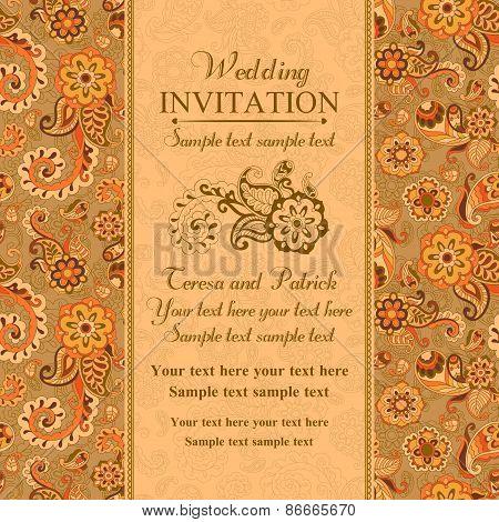 Wedding invitation in east turkish style, orange