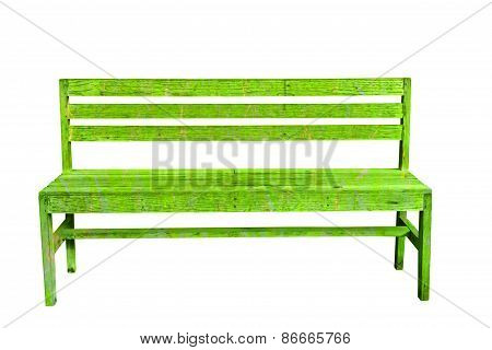 Green Vintage Bench In White Background