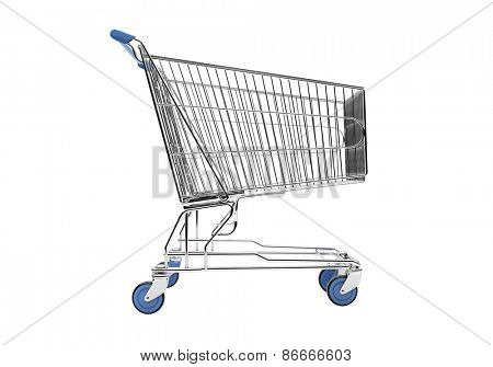 Empty shopping cart in grey studio