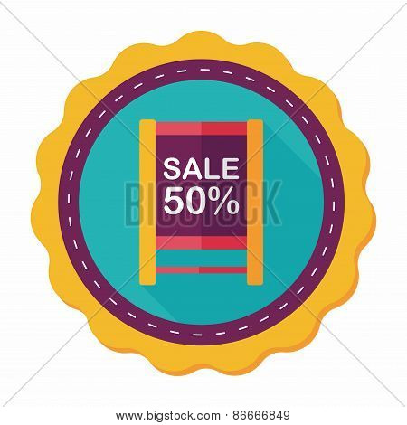 Shopping Sale Sign Flag Flat Icon With Long Shadow,eps10