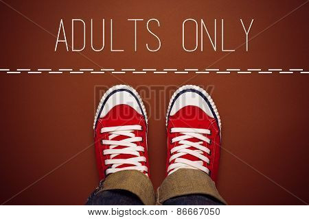 Adults Only Concept, Person Standing At Dividing Line