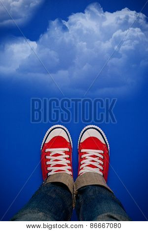 Young Person Walking On Clouds