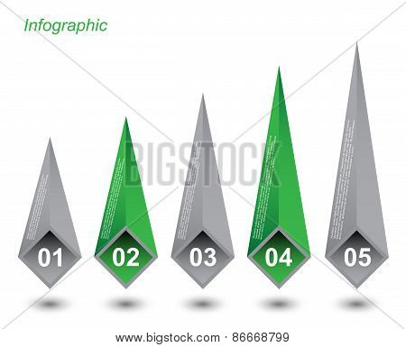 Infographic design in the shape of an arrow pattern.