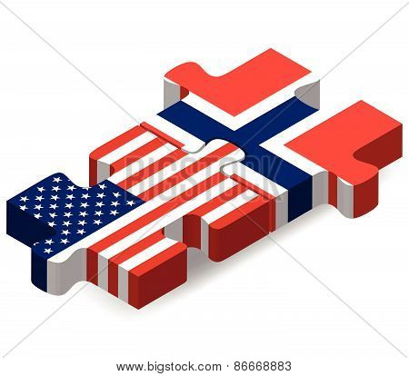 Usa And Norway Flags In Puzzle
