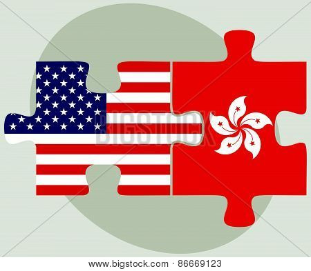 Usa And Hong Kong Sar China Flags In Puzzle