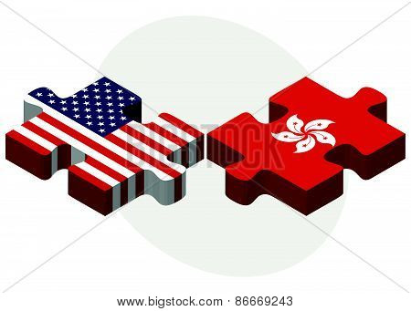 Usa And Hong Kong Sar China Flags In Puzzle