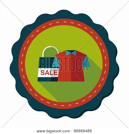 Shopping Clothes Flat Icon With Long Shadow,eps10