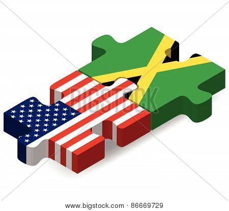 Usa And Jamaica Flags In Puzzle