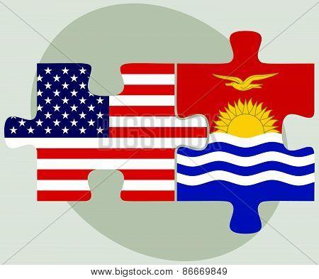 Usa And Kiribati Flags In Puzzle