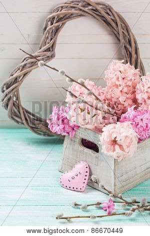 Fresh Flowers Hyacinths In Box And Decorative Heart