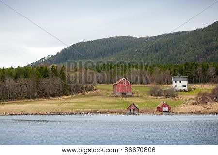 Traditional Norwegian Small Village, Colorful Wooden Houses