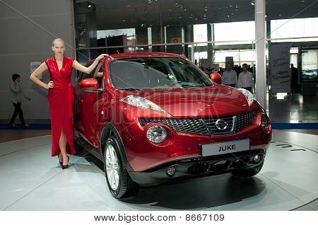 MOSCOW RUSSIA - August 26: Moscow International Automobile Salon 2010. Nissan Juke - russian premier