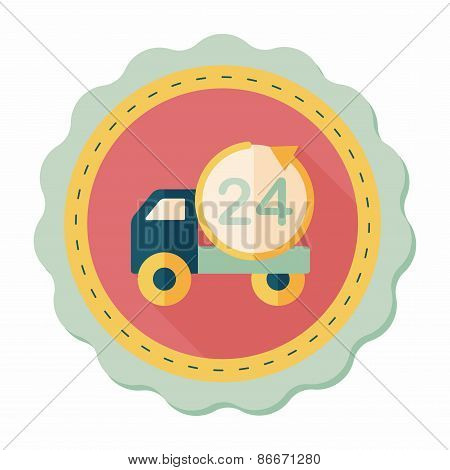 24 Hours Shopping Freight Transport Flat Icon With Long Shadow,eps10