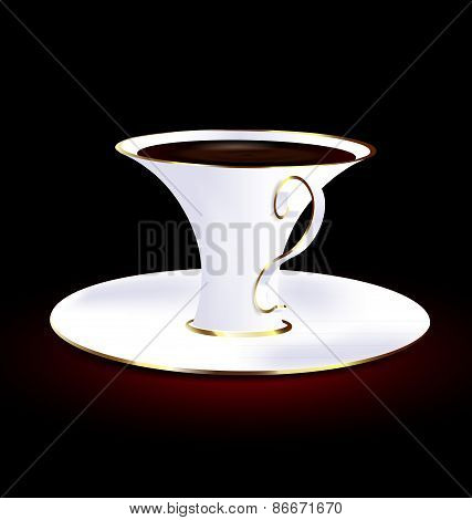 White And Golden Cup