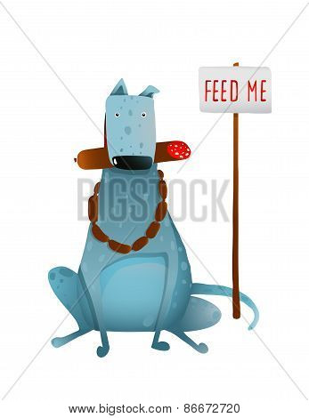 Hungry Blue Fat Dog Improper Feeding with Sausages