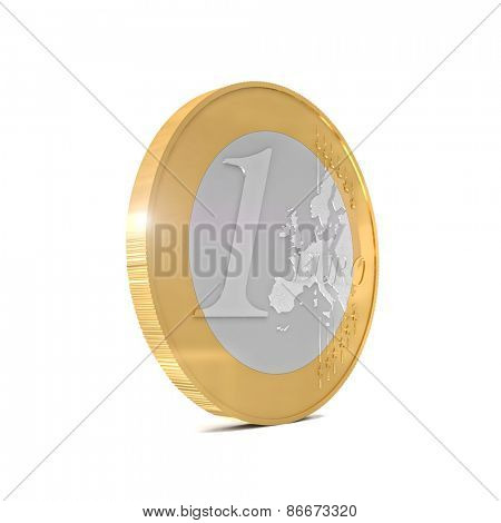3d euro coin isolated on white background