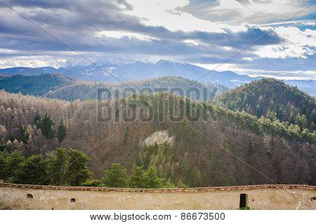 Aerial View Of mountains Old farm house Brasov Transylvania