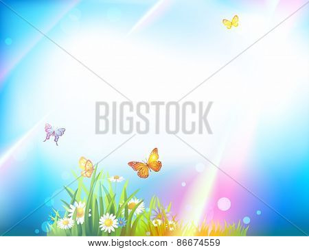 Light summer background with butterflies, flowers, green grass and sunbeams
